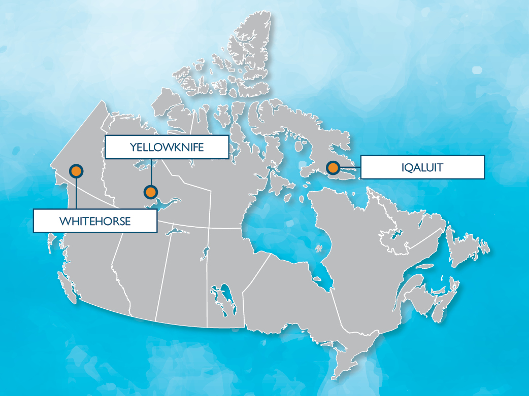 Whitehorse, Yellowknife, Iqaluit